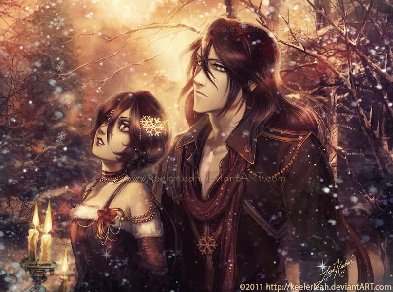 Bleach Winter Byakuya and Rukia by keelerleah