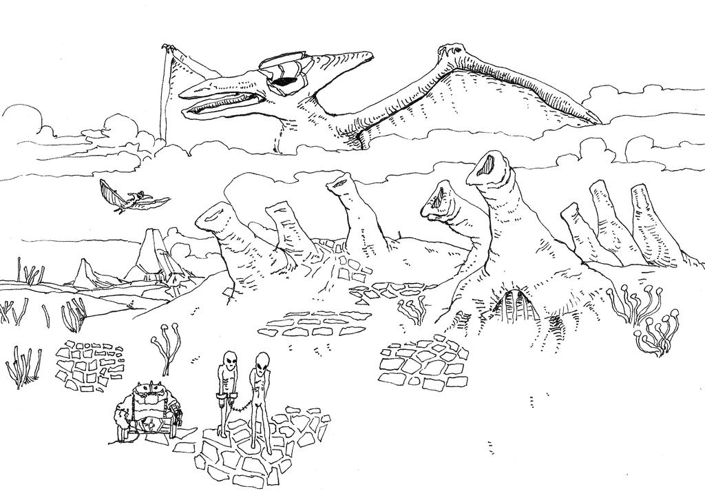 Alien Landscape with Enormous Cybergod Pterodactyl by Whitsteen