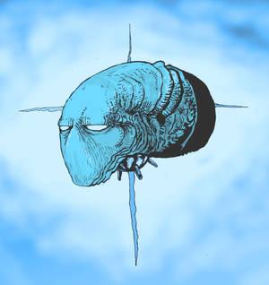 Creepy Blue Alienhead