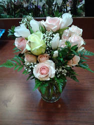 Pink and Green Roses by NikkiAgent