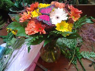 Silk Butterfly on Arrangement by NikkiAgent