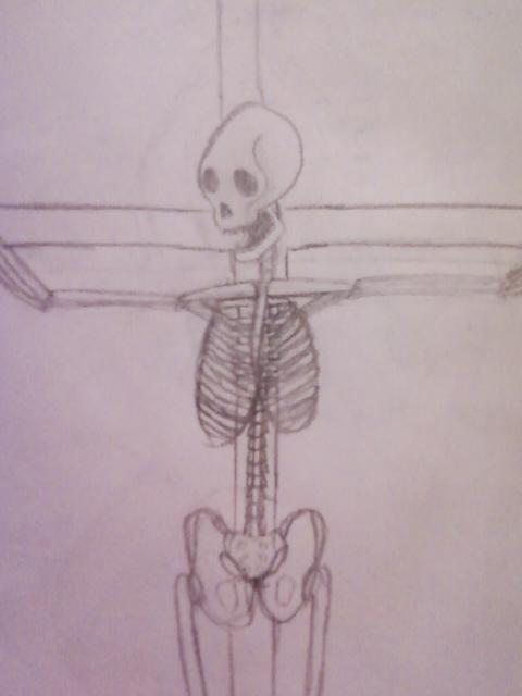 skeleton on a cross. by HisLover13