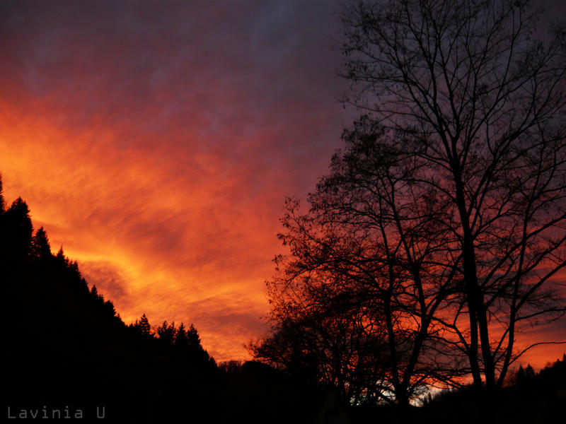 Fall has burning sunsets by LaviniaU
