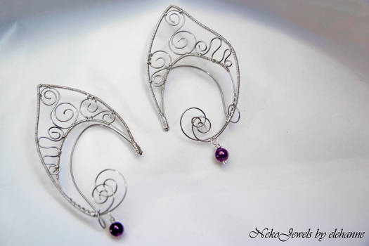 Silver and amethyst elven earcuff
