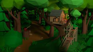 Low poly lumberjack's house