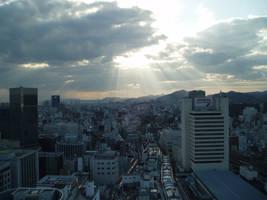 Cityscape and Sun Rays by AntiRetrovirus