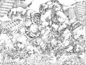 Hulk vs Juggernaut  (Commission)