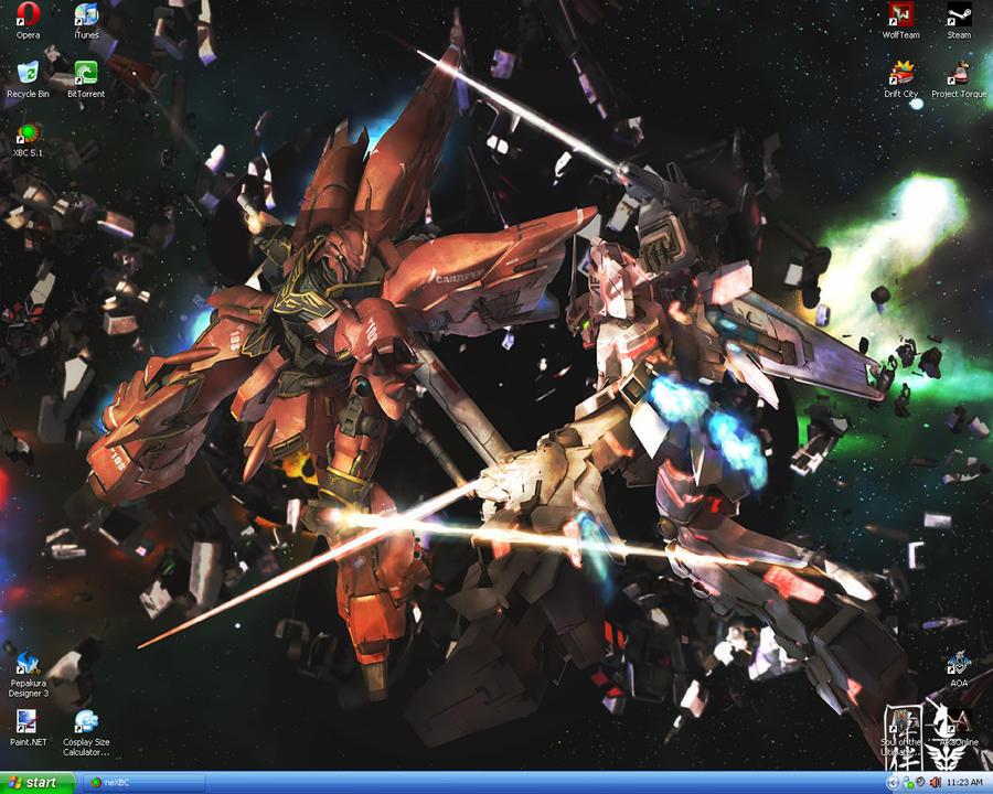 Sinanju Vs Unicorn Gundam by zeroexe34