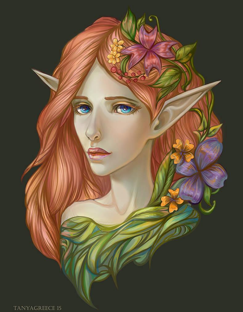 Elf in flowers