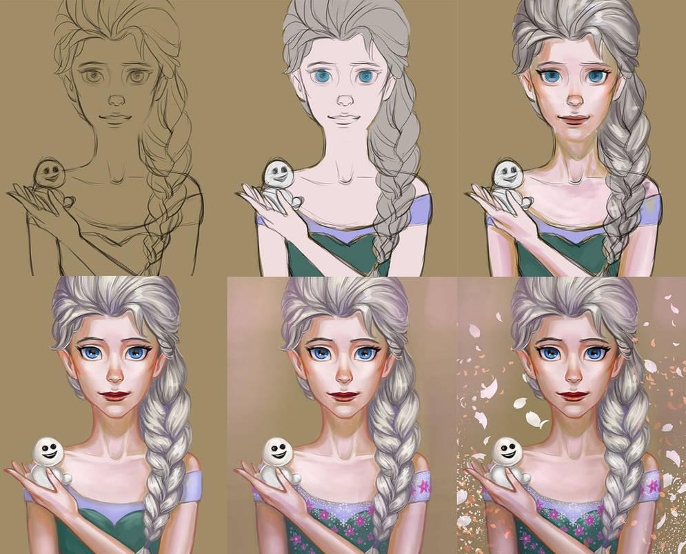 Elsa frozen-fever Progress(video) by TanyaGreece