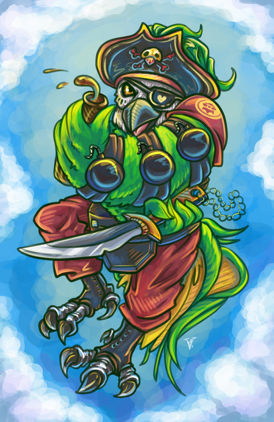 demoman pirate parrot by chuchucolate on deviantart