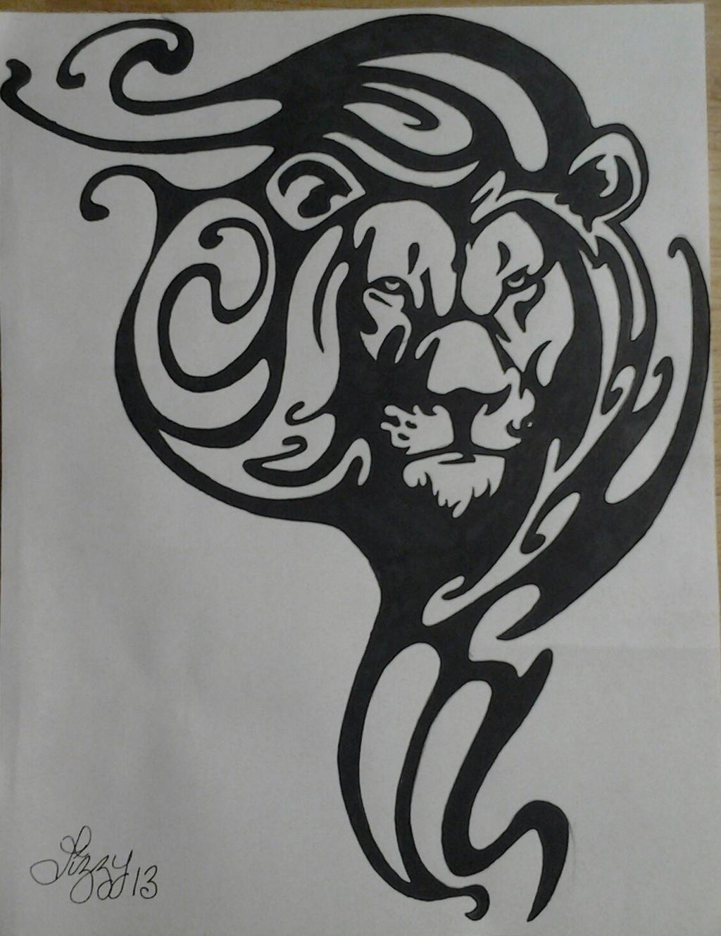 Swirly Lion Head (Leo sign) by lizzyj2217