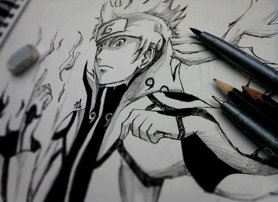 Naruto nine tails chakra mode by Booomm28 on DeviantArt