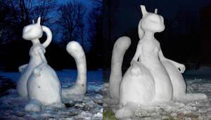 Mewtwo Snow Sculpture