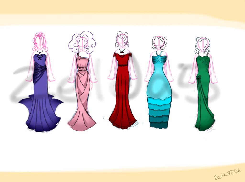 Dress Adoptables: Hearts Line! (open) by Zelda5