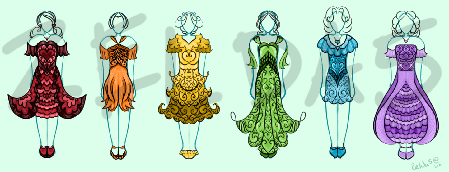 Adoptable Dresses: Colors Line! (OPEN) by Zelda5