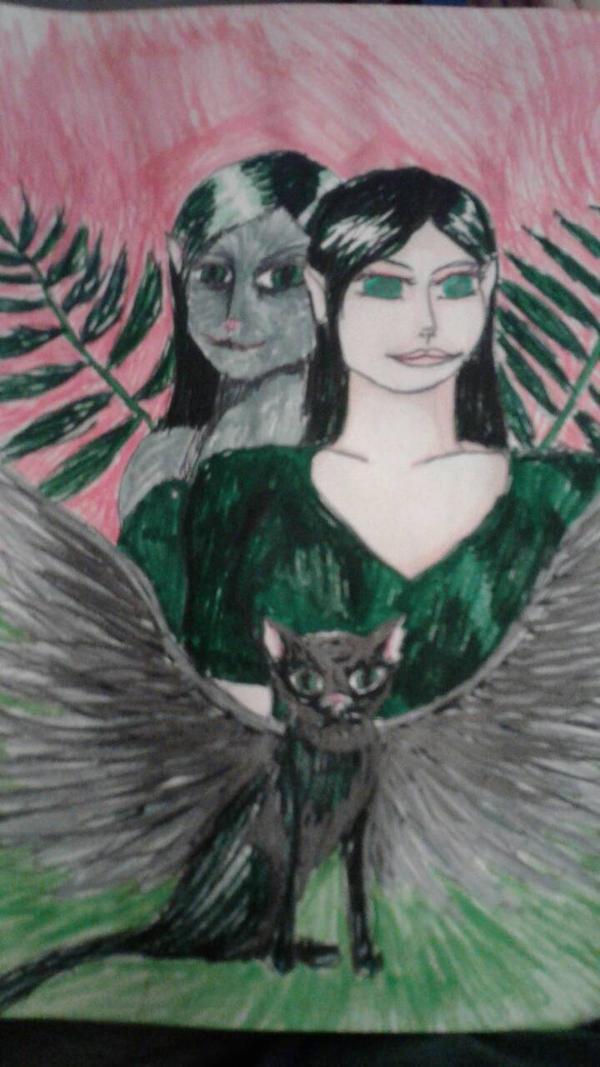 Noir Corbeau Chat, Raven by dalaphen