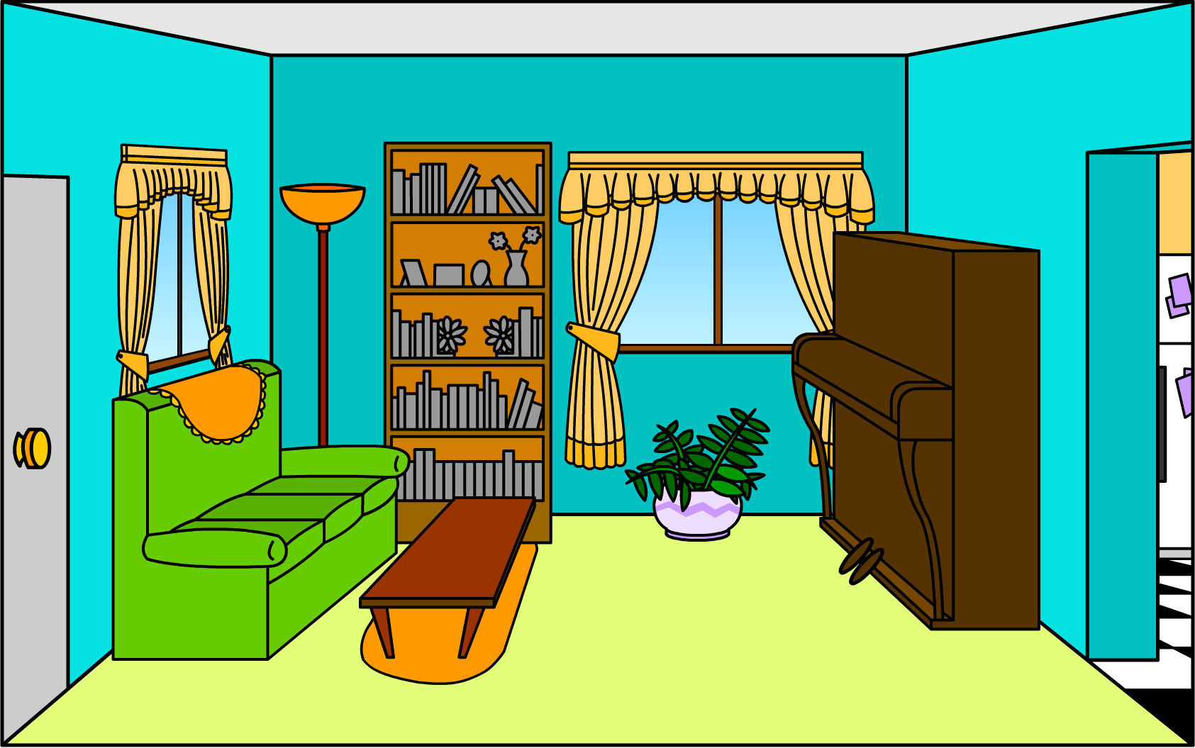 Cartoon tv room best layout room for Living room clipart