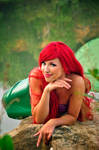 Ariel on a stone cosplay