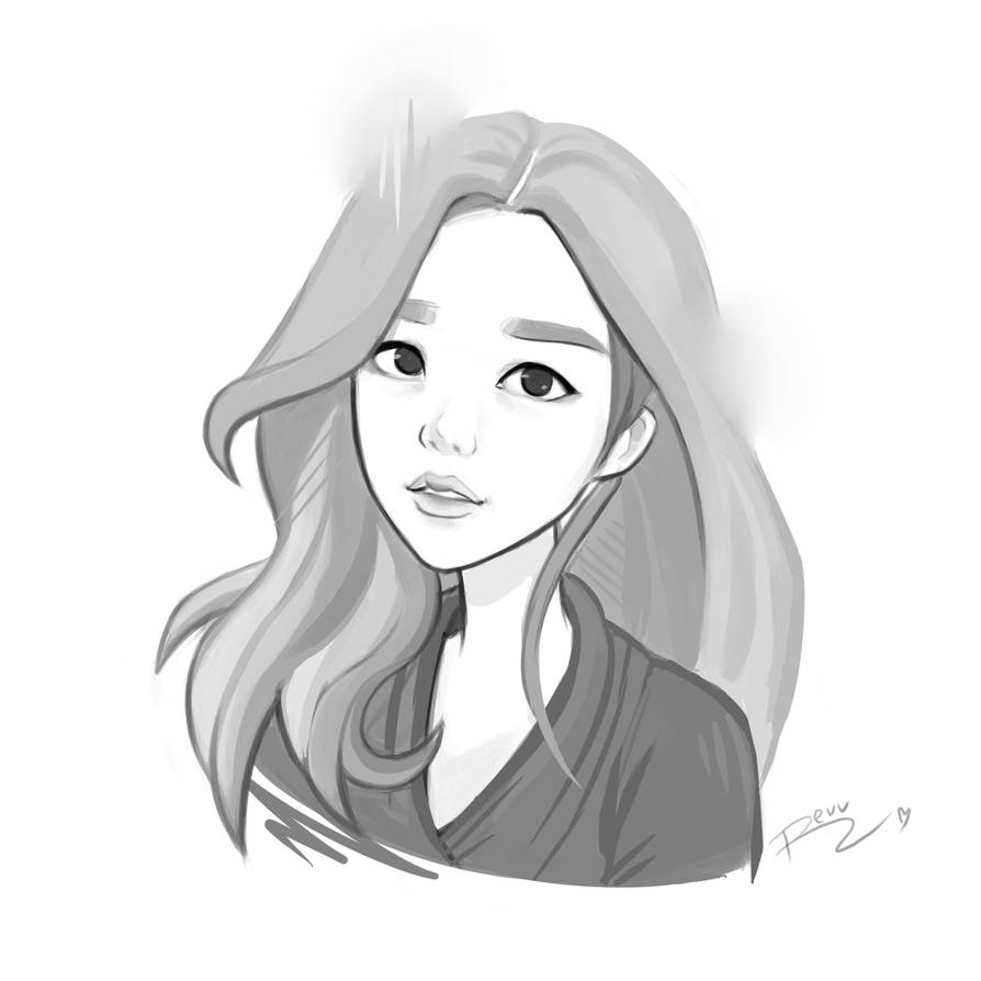 Korean girl sketch by revvriverse