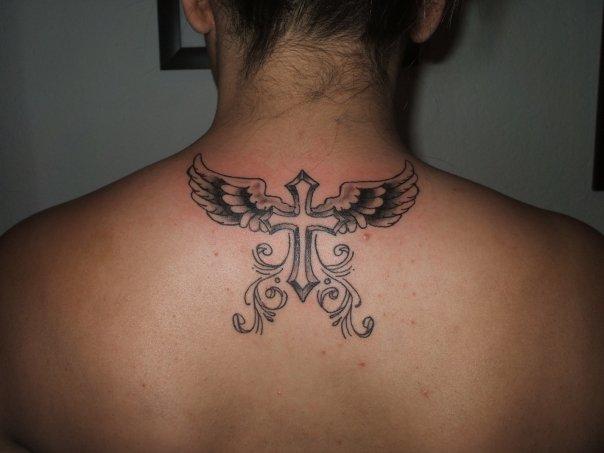 cross and wings on back by filmoart on deviantart