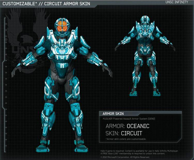 Halo 4 | Oceanic armor | Skin Circuit | By 343I by Goyo