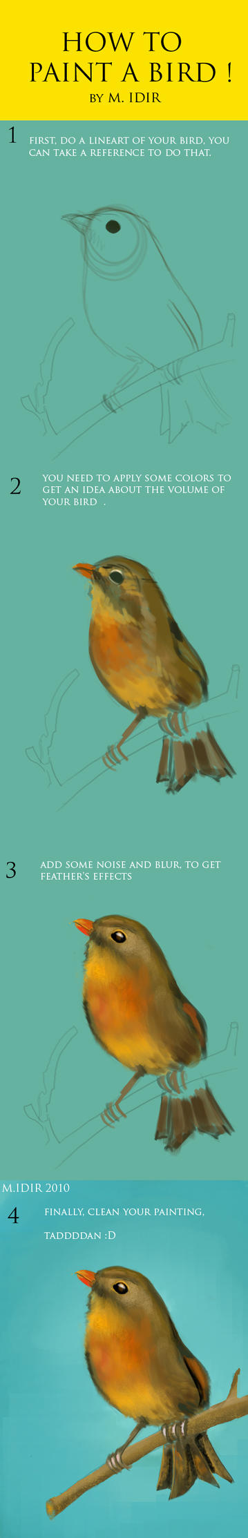 how to draw a little bird by IDACHI