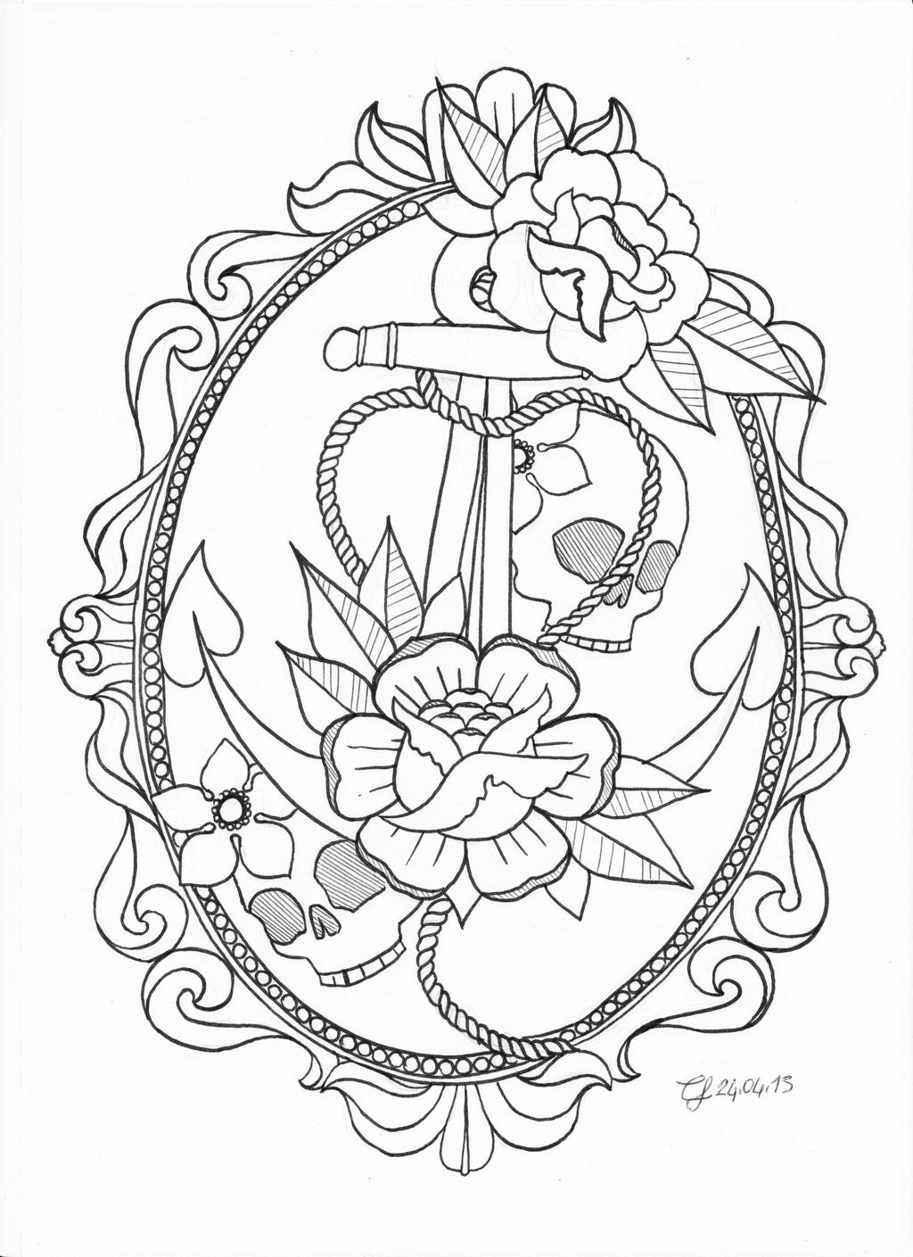 Anchor Tattoo Line Drawing : Anchor tattoo by cllu on deviantart