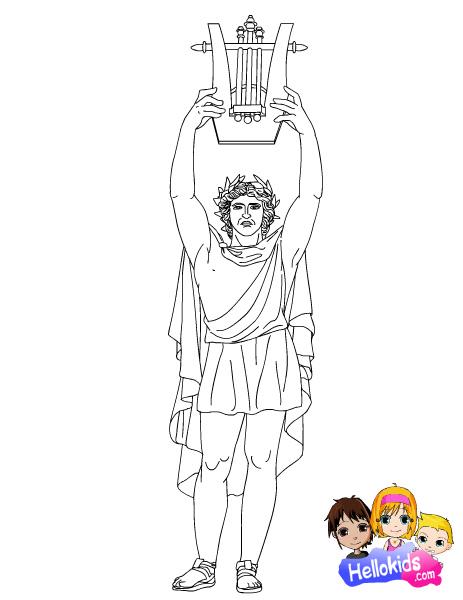Бог аполлон раскраска