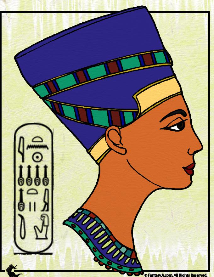 Nefertiti Bust Classic Egypt Art Style by Writer-Colorer