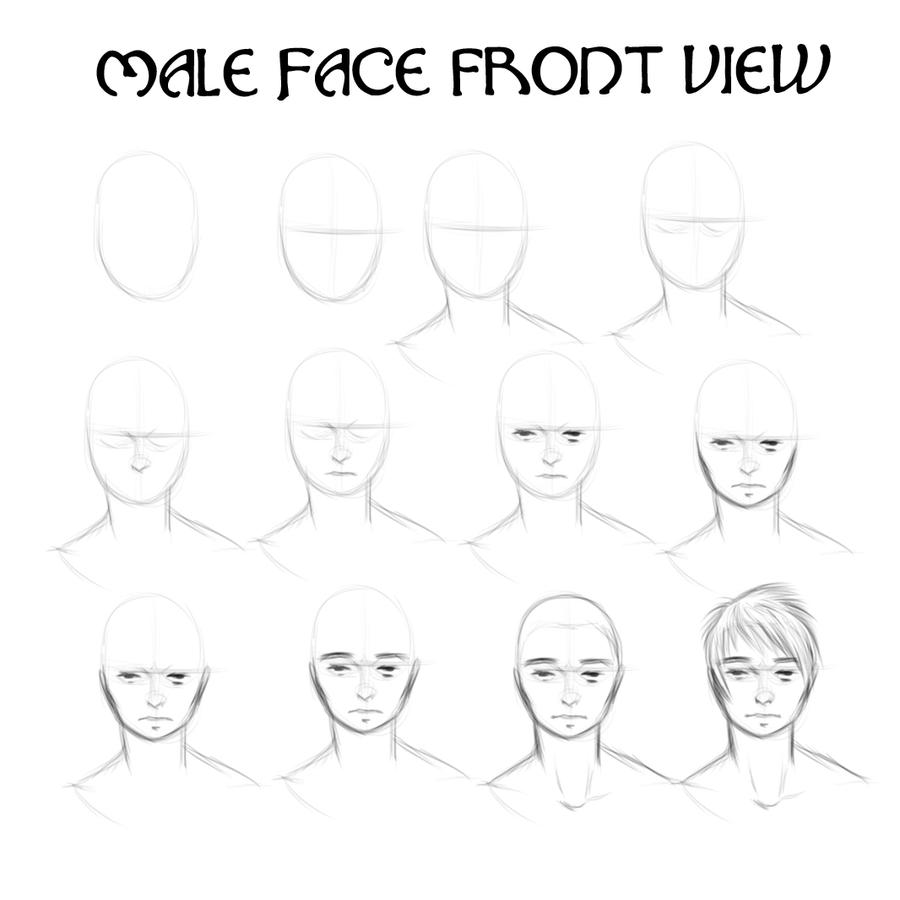 Tutorial: Male Face Front View By Kitwilkins How To Draw A