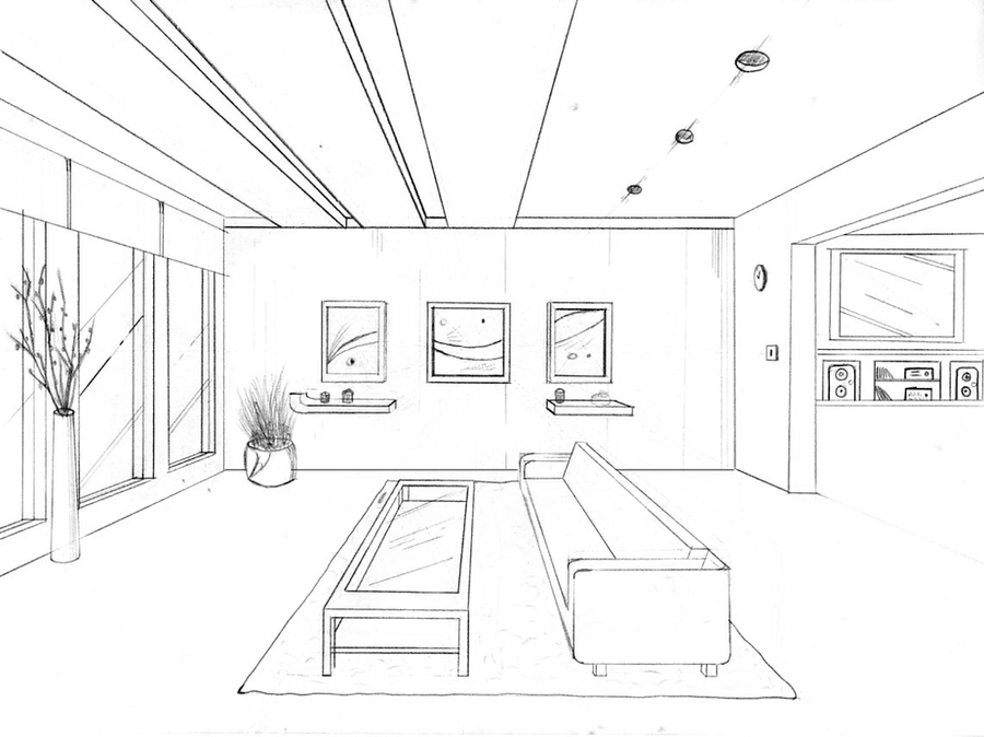 1 Point Perspective Drawing By Groovdafied On Deviantart