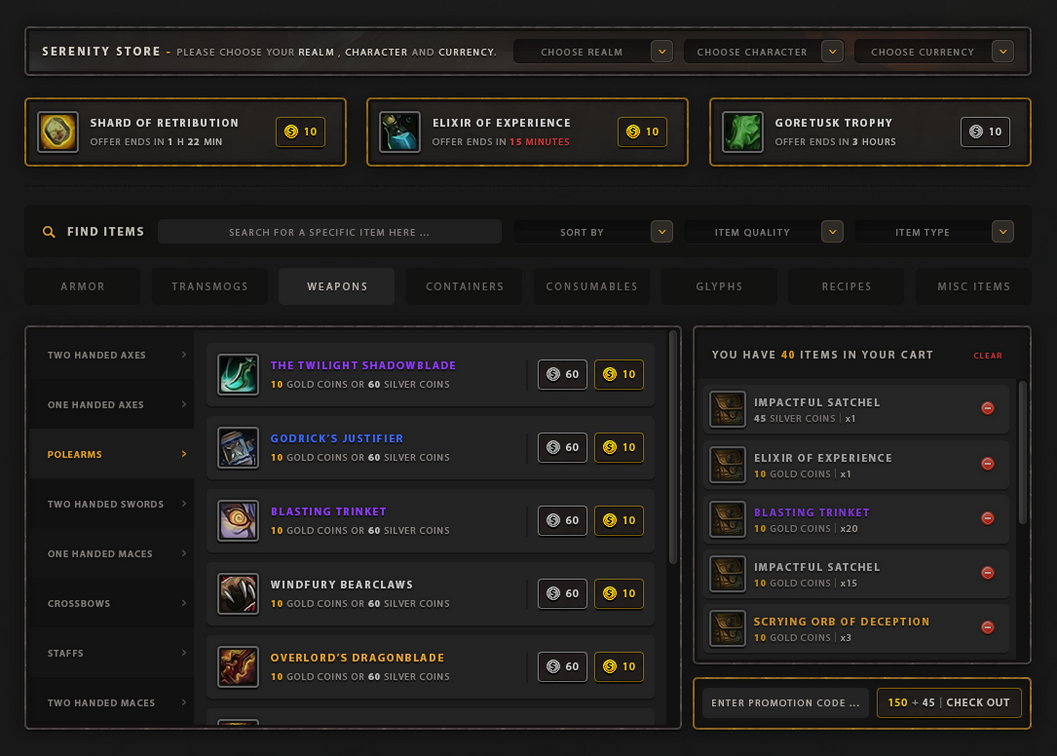 Item Store concept (For wow private server) by ZafireHD