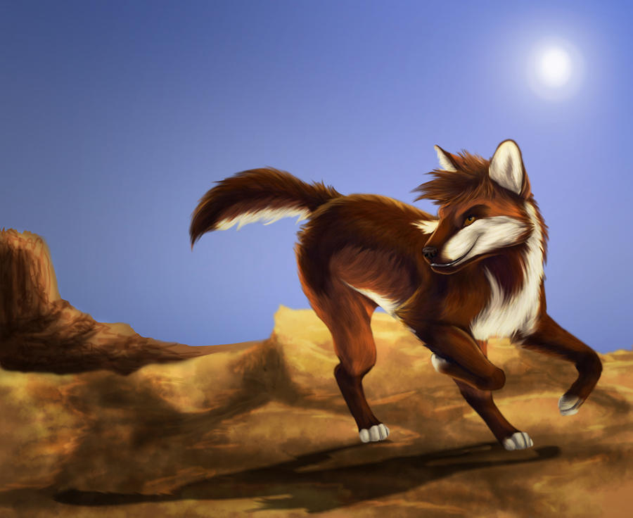 Red wolf trade by GoldenPhoenix100