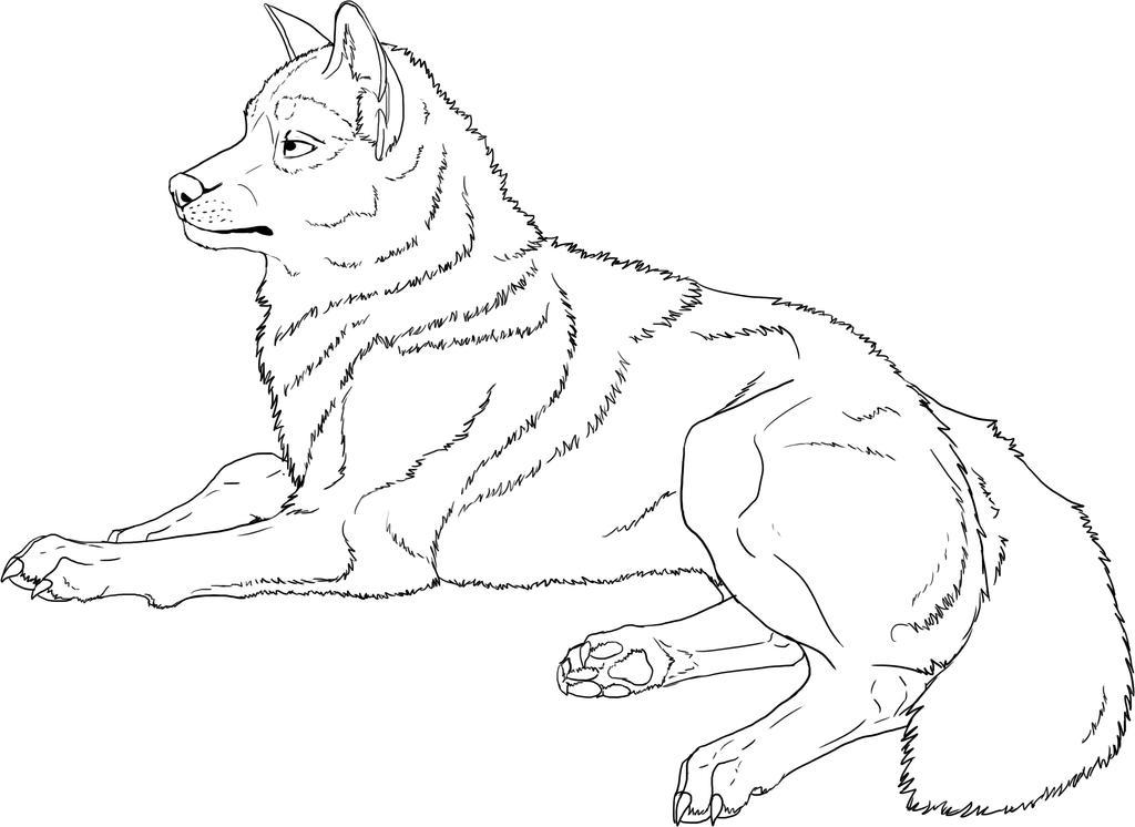 Free Lineart - Wolf by GoldenPhoenix100 on DeviantArt