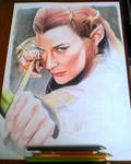 wip Tauriel colored pencils