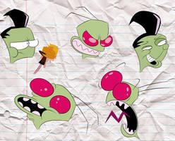 Invader Zim Head Doodles #1
