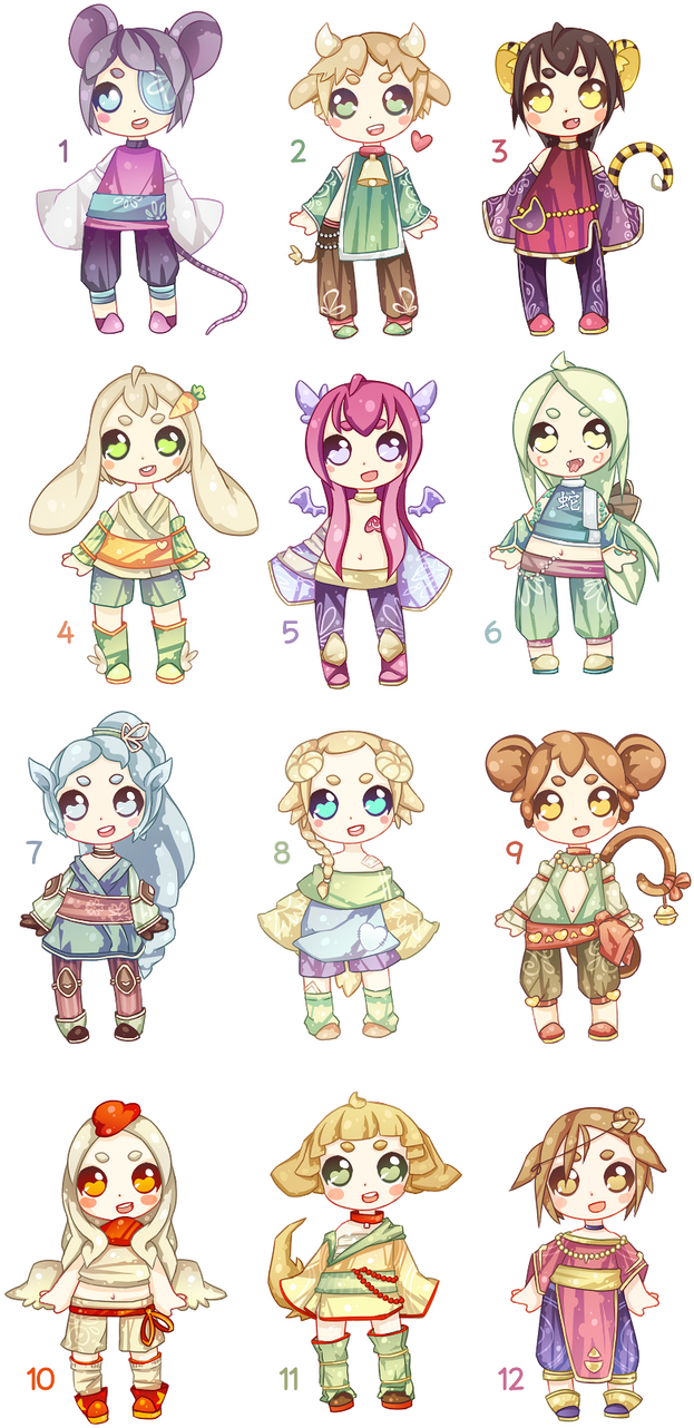 Adopt Set - 01 - Chinese Zodiac - Closed by Pocky-Adopts ...