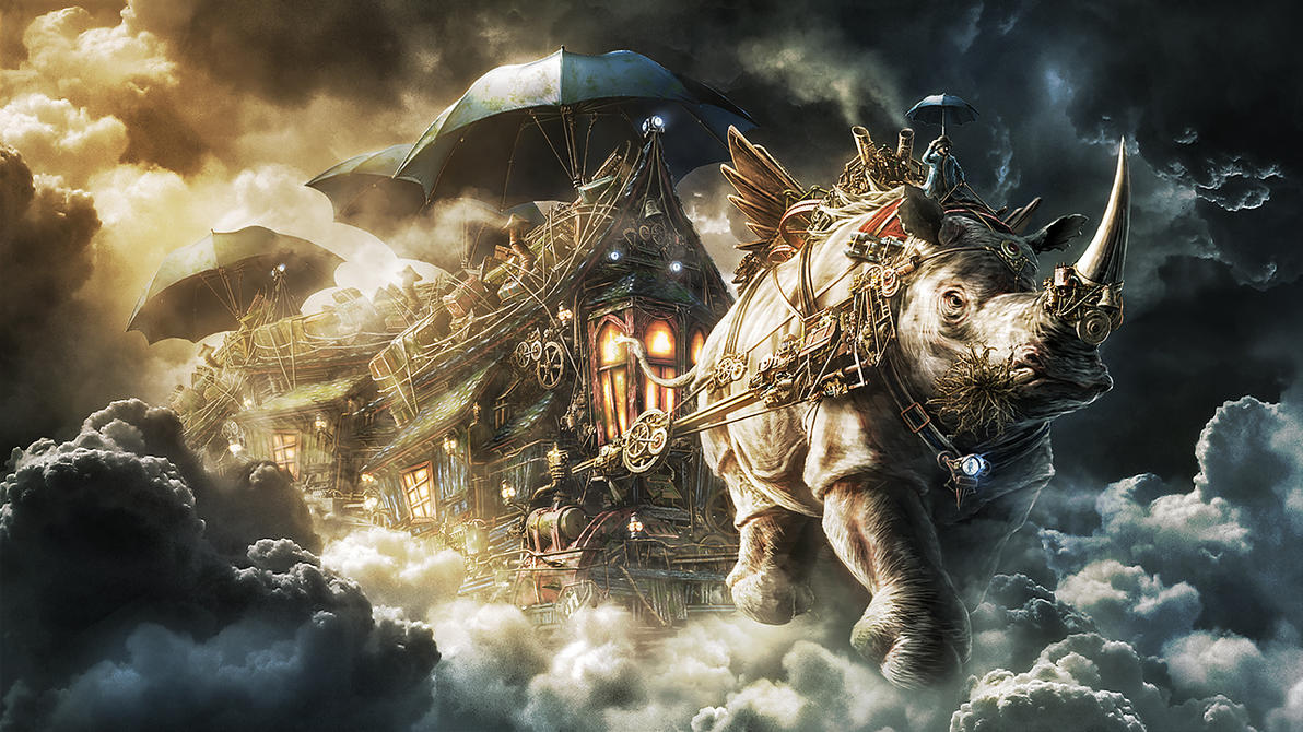 The movable Houses and the giant flying Rhino by Namkoart