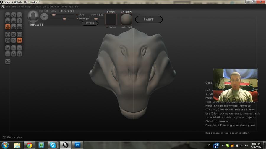 Alien head by MightyMaki