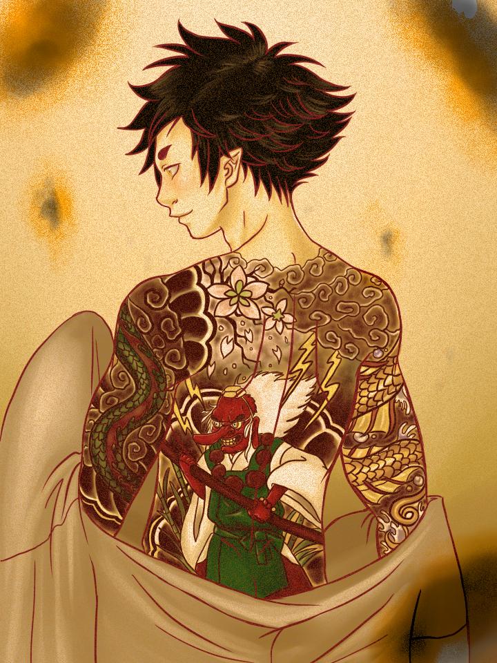 Mononoke Station || Ginko's tattoos by MightyMaki