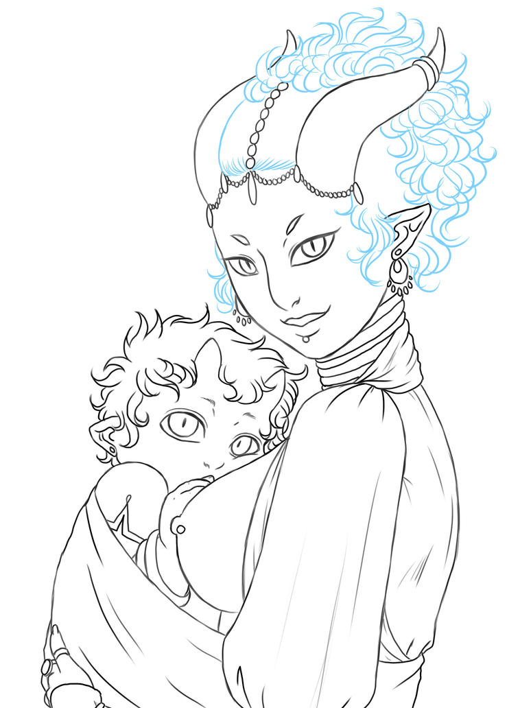 Mother and Child lineart by MightyMaki