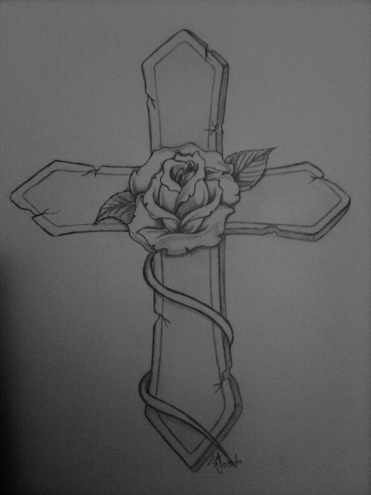 rose and cross tattoo by nexquick on deviantart. Black Bedroom Furniture Sets. Home Design Ideas