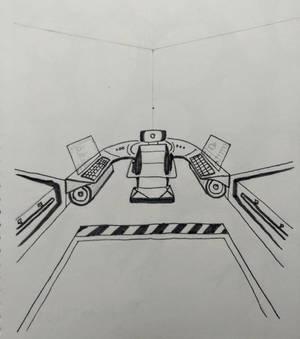 Spaceship cockpit interior