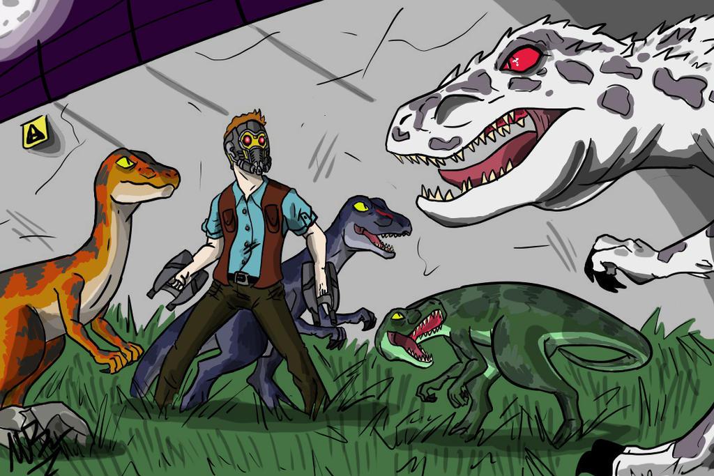 Jurassic World (Starlord VS Diabolus Rex) by GingerBaribuu
