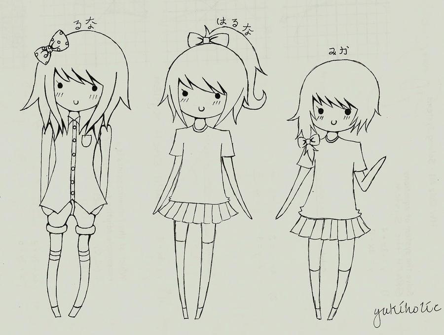 Luna, Haruna, and Mika by yukiholic