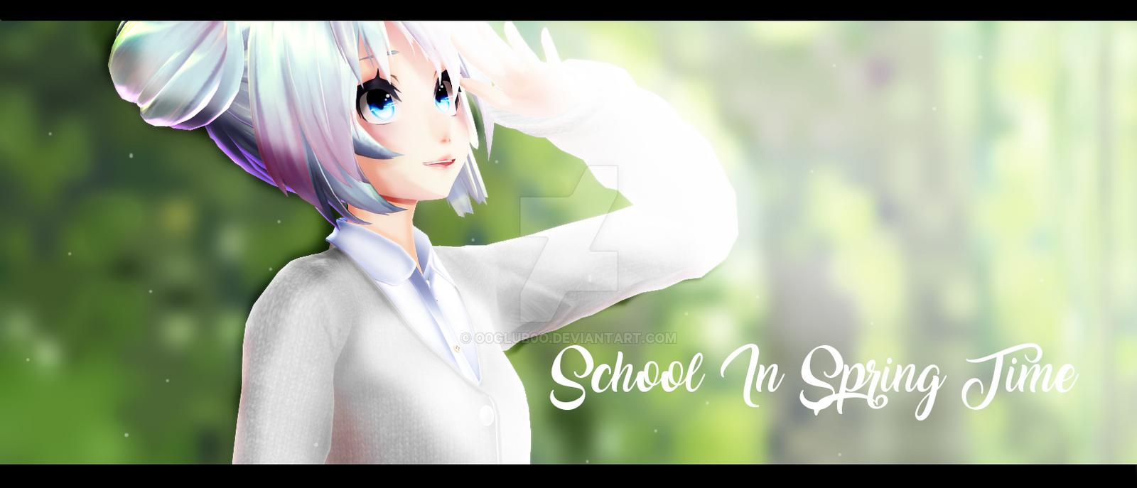 [MMD] School In Spring Time by o0Glub0o