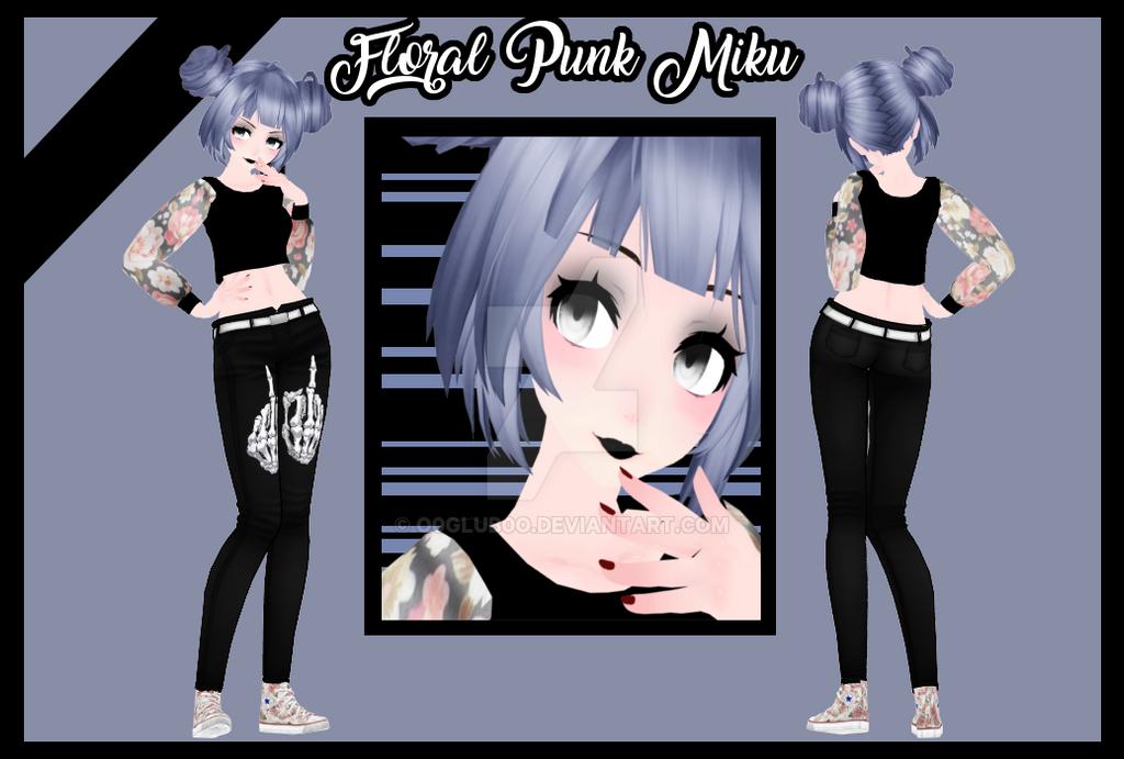 [MMD|NEW MODEL] Floral Punk Miku by o0Glub0o