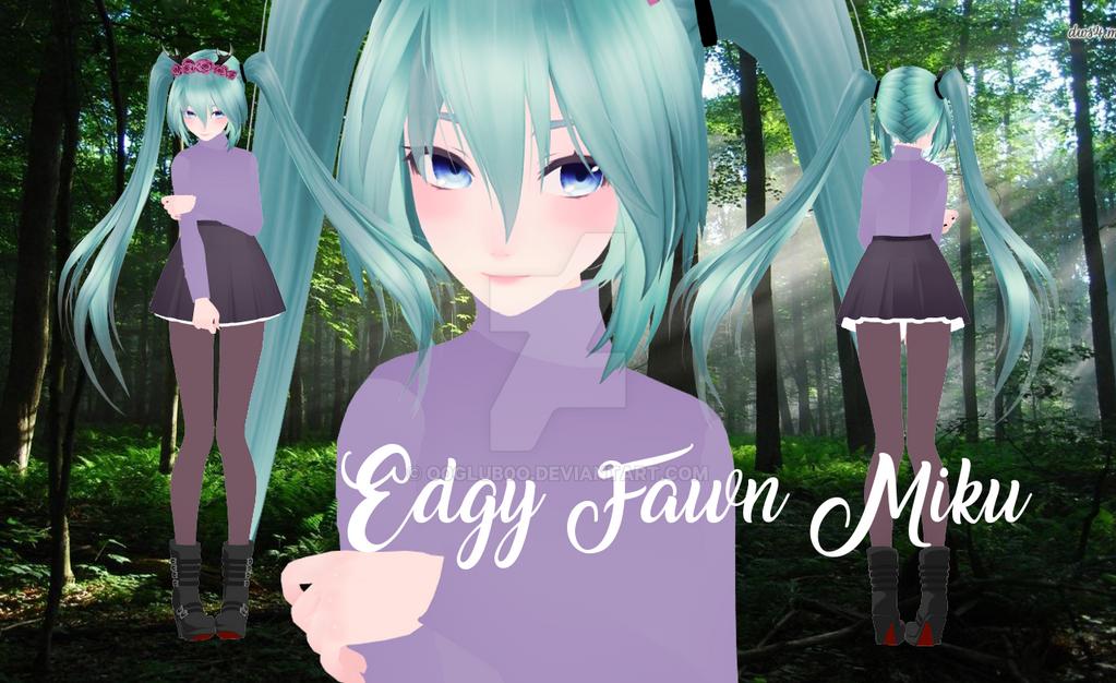 [MMD|NEW MODEL] Edgy Fawn Miku by o0Glub0o