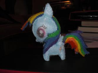 Mini Felt Rainbow Dash Plushie by Bunnygirl2190